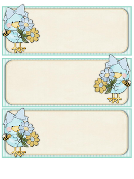 Cute Birds Small Desk Tags & Name Plates