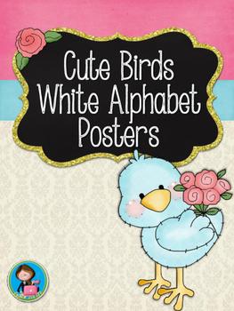 Cute Birds White Alphabet Posters