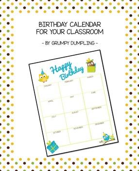 Cute Birthday Calendar for Your Classroom