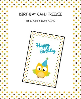 Cute Birthday Card {FREEBIE}