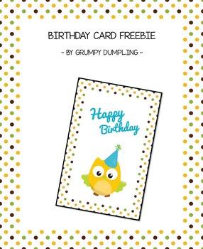 Cute Birthday Card {FREEBIE}