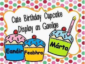 Cute Birthday Display as gaeilge (irish) / Míonna na Bliana