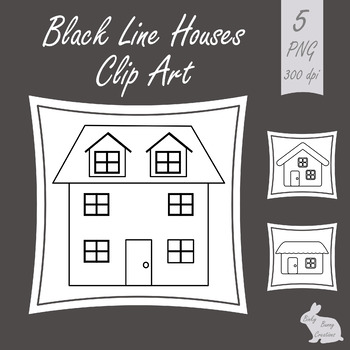 Houses Clip Art Black and White Outline Clipart Images