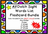 All Dolch Sight Word Lists Flashcards Bundle **Cute Black and White Polka Dots**