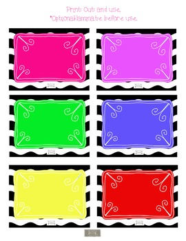 Cute Black and white with Bright color Classroom Signs, Labels and Hall Passes