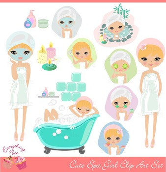 Cute Blonde Spa Girl Clipart Set