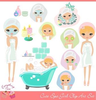 Cute Blonde Spa Girl Clipart Set