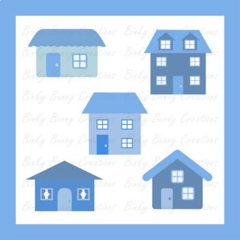 House Home Clip Art Blue Clipart Building Town Neighborhood