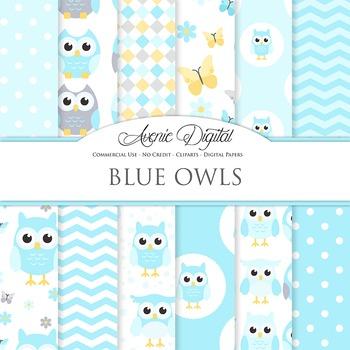 Cute Blue Owl Digital Paper Background Candies patterns. baby boy owls