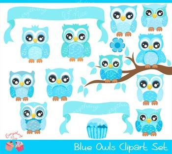 Cute Blue Owls Clipart Set
