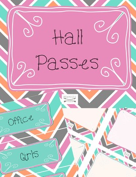 Cute Blue, teal, orange, purple Chevron Classroom Signs, Hall passes, and Labels