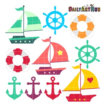 Cute Boats Clip Art - Great for Art Class Projects!