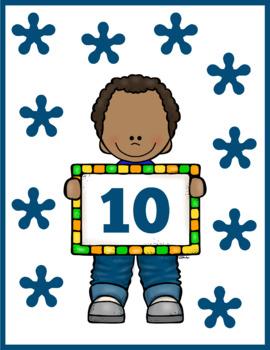 Cute Boy 0-10 Counting Flash Cards; Kindergarten; Preschool; Homeschool; Numbers