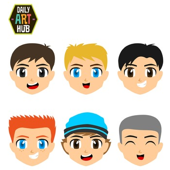 Cute Boy Faces Clip Art - Great for Art Class Projects! Make Adorable Masks