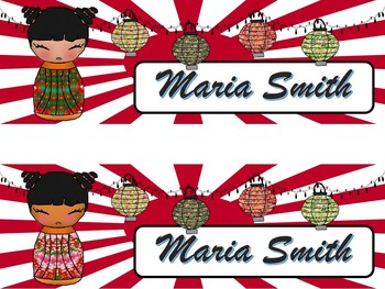 Cute Boy & Girl Editable Type In Multicultural Japanese Kokeshi Name Plates