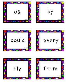 **Cute Bright Polka Dots** All Dolch Sight Word Lists Flashcards Bundle