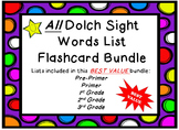 **Cute Bright Polka Dots** All Dolch Sight Word Lists Flas