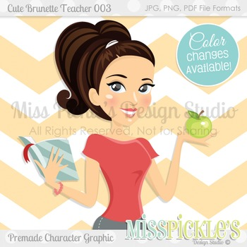Cute Brunette Teacher 003- Personal and Commercial Use Character Graphic