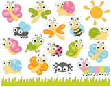 Cute Bugs Clip Art, Insects Clipart, Ladybug, Snail, Dragonfly