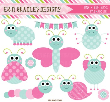 Cute Bugs Clipart - Pink & Blue Digital Graphics