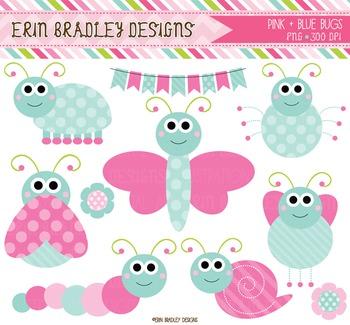 Cute Bugs Clipart - Pink & Blue Digital Graphics