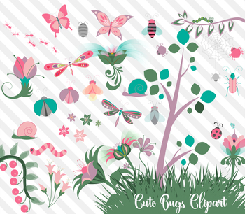 Cute Bugs Clipart, png and vector pink purple teal girl color flowers