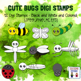 Cute Bugs Digi Stamps - Set of 12 - Black and White and Colored