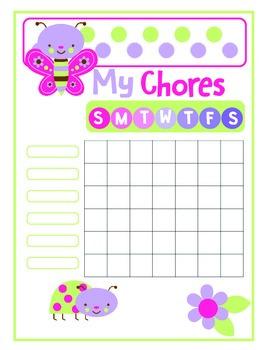 Cute Bugs Printable Chore Chart