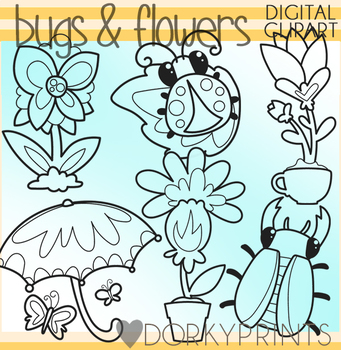 Cute Bugs and Flowers Blackline Clipart