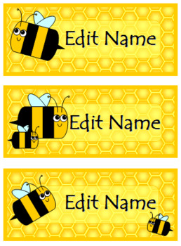 Cute Honey Bee Labels and Name Plates - Fully Editable!