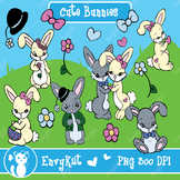Cute Bunnies Digital Illustration Clipart