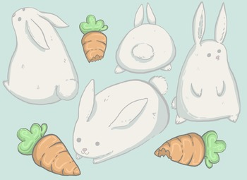 Cute Bunnies and Carrots Clip Art