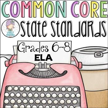 Grades 6, 7, 8 ELA Common Core Checklist for Multiple Grades
