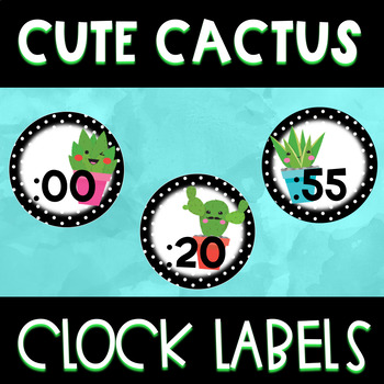 Cute Cactus Clock Labels
