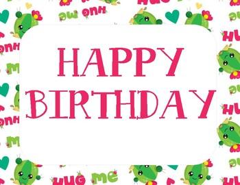Cute Cactus Happy Birthday Bulletin Board