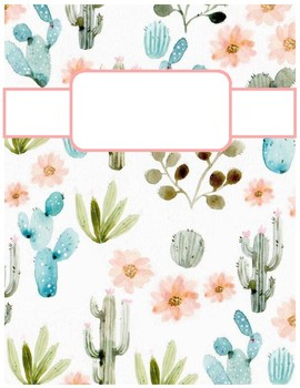Cute Cactus Print Binder Cover Sheets By Cheyenne Bowen Tpt