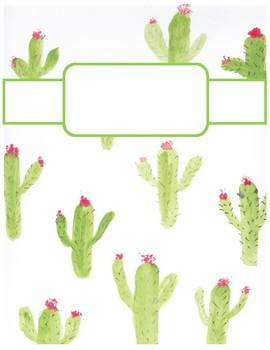 Cute Cactus Print Binder Cover Sheets!