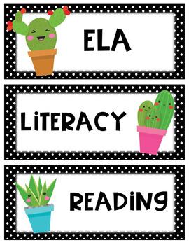 Cute Cactus Schedule Cards Editable