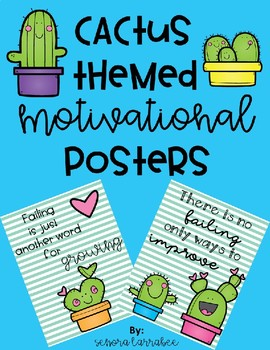 Cute Cactus themed motivational posters