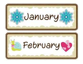 Cute Calendar Month Labels