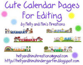 Cute Calendar Pages for Editing