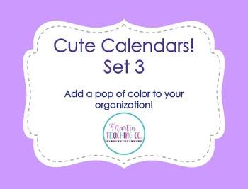 Cute Calendars - Set 3
