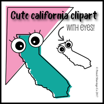 Cute California Clipart with eyes!