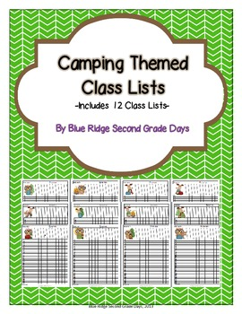 Cute Camping Themed Class Lists
