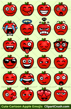 Cute Cartoon Apple Emoji Clipart Faces / Red Apple Clipart ...