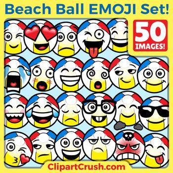 Cute Cartoon Beachball Emoji Clipart Faces / Beach Ball Summer Fun Emojis