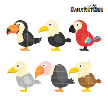 Cute Cartoon Birds Clip Art - Great for Art Class Projects!