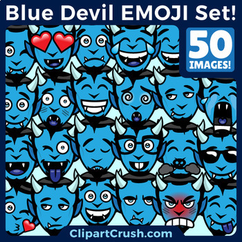 Cute Cartoon Blue Devil Emoji Clipart Faces / Duke Blue Devils Emojis