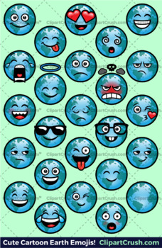 Cute Cartoon Earth Emoji Clipart Faces / Earth Day Globe Emojis Emotions