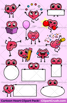 Cute Cartoon Hearts Clipart Set Vol.1 [15 POSES!] Fun Valentine's Day Clipart